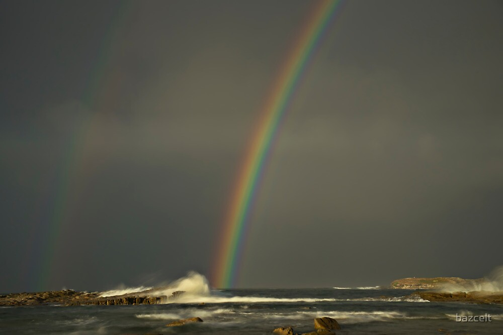 Pot of Gold, Rainbow on Rocks by bazcelt