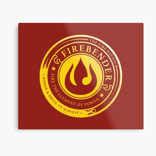 Firebender Symbol: Avatar-Inspired Design v2 Metal Print