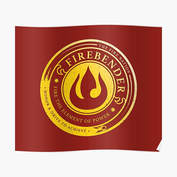 ATLA Firebender Symbol: Avatar-Inspired Design Poster