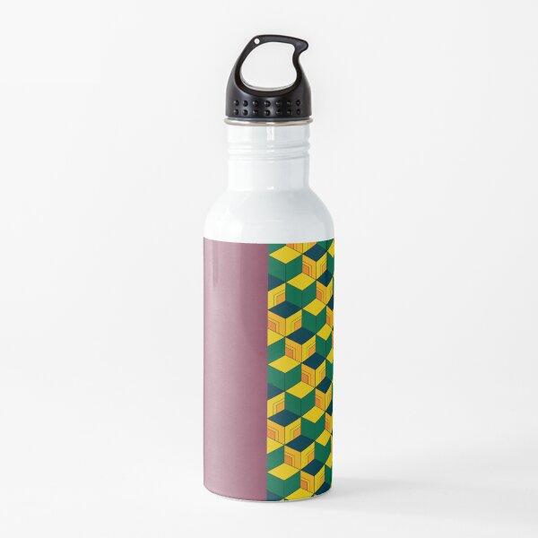 Giyu's Half Solid Half Geometric Traditional Japanese Kimono Pattern Water Bottle