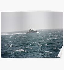 Small Boat in Stormy Waters Poster