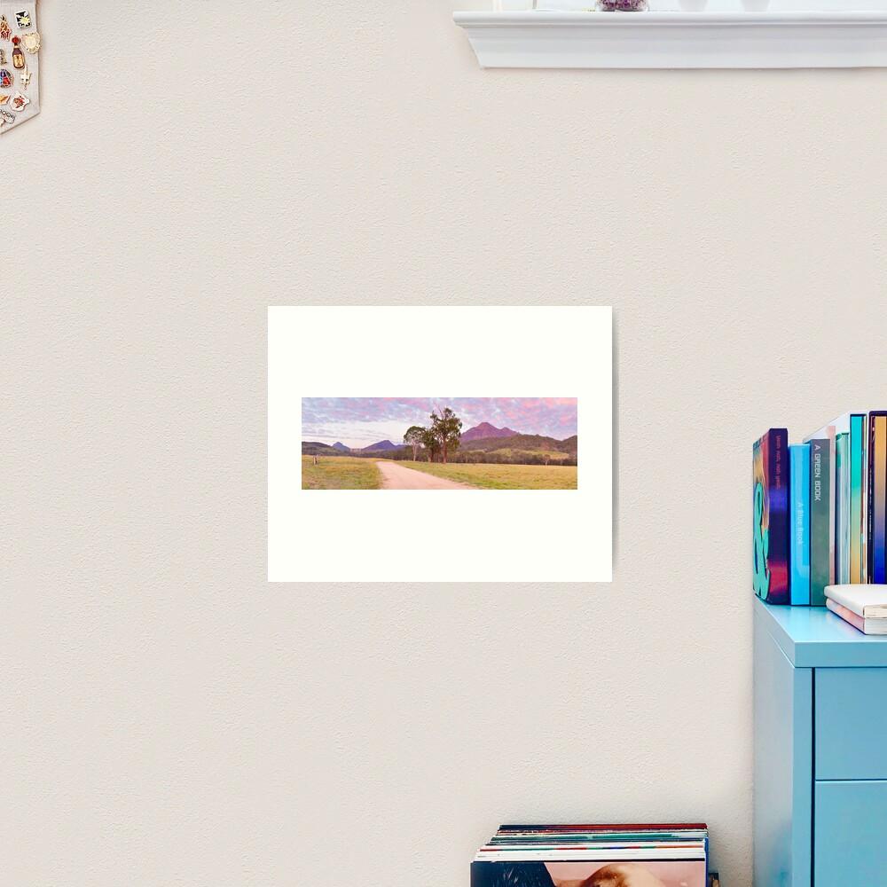 Rosey Dawn over Mt Barney, South-East Queensland, Australia Art Print