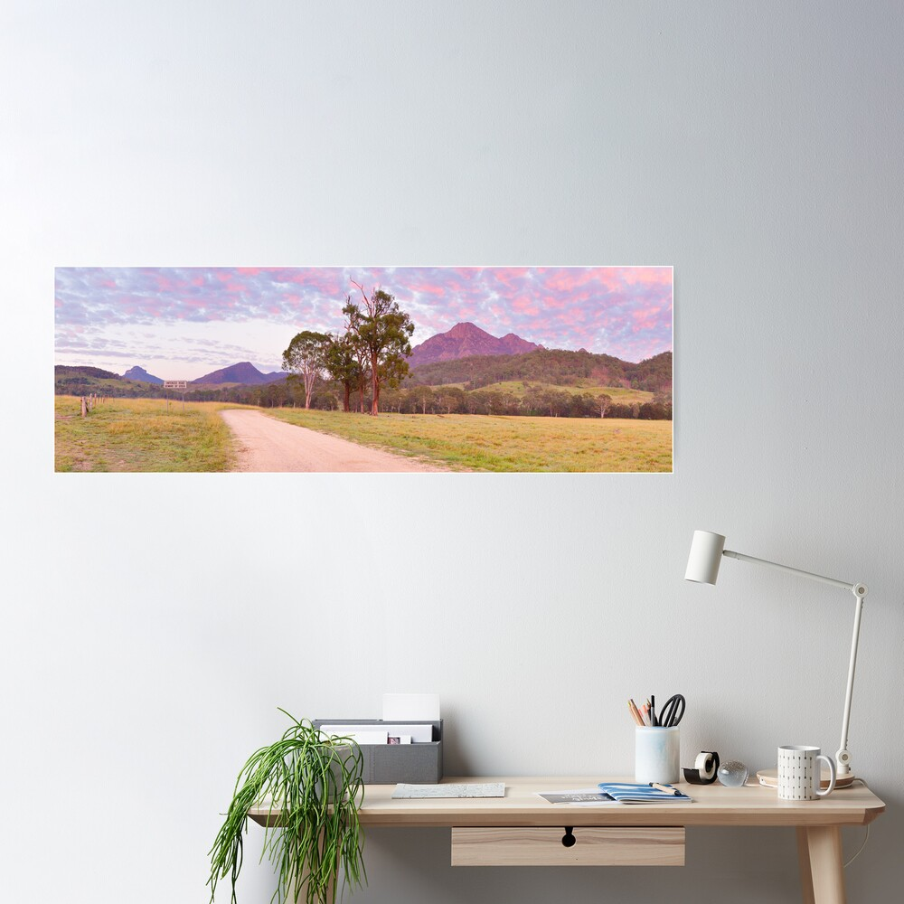 Rosey Dawn over Mt Barney, South-East Queensland, Australia Poster