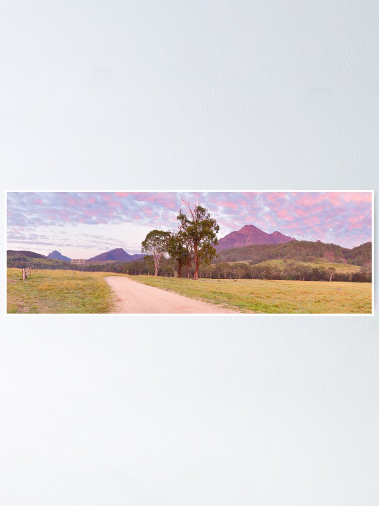 Alternate view of Rosey Dawn over Mt Barney, South-East Queensland, Australia Poster