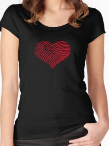 Red Heart Fingerprint Women's Fitted Scoop T-Shirt