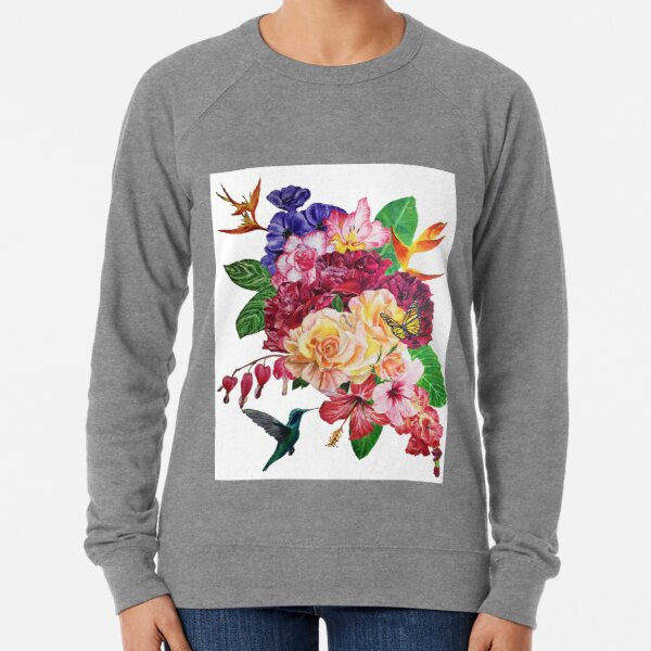 Tropical Flowers with Hummingbird Lightweight Sweatshirt
