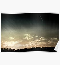 Colourized sunset with jet plane Poster