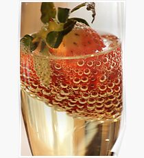 Strawberry and bubbles in sparkling wine Poster
