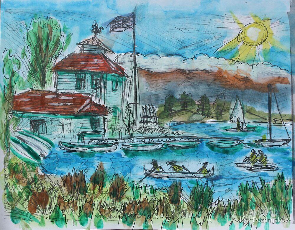 Watercolor Sketch - Shoreline Park, Mountain View, California. 2013 by Igor Pozdnyakov
