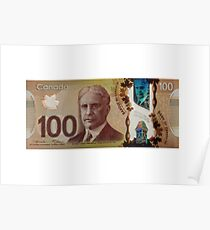 Isolated 100 Canadian dollar banknote. Poster