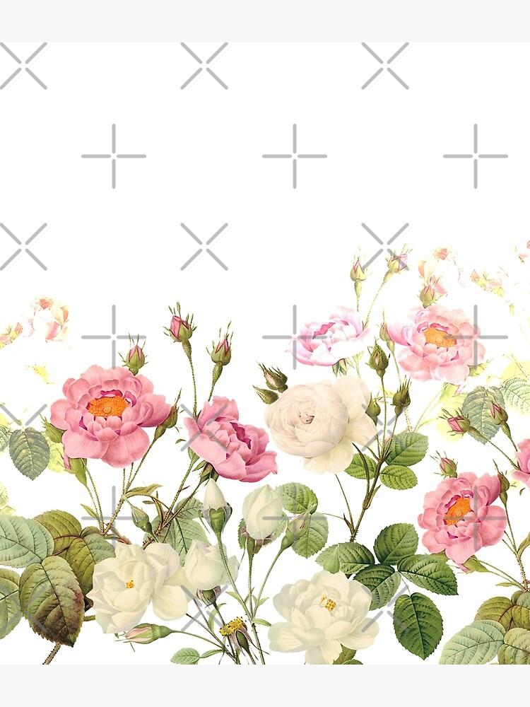 Pierre Joseph Redouté - Most beautiful pink rose flower meadow by UtArt
