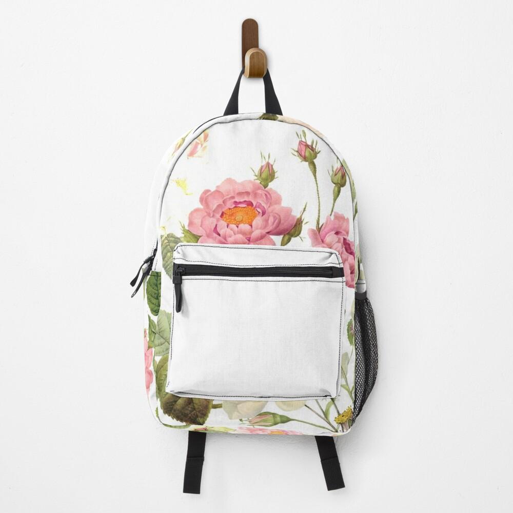 Pierre Joseph Redouté - Most beautiful pink rose flower meadow Backpack