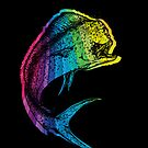 Rainbow Mahi Mahi on Black by pjwuebker