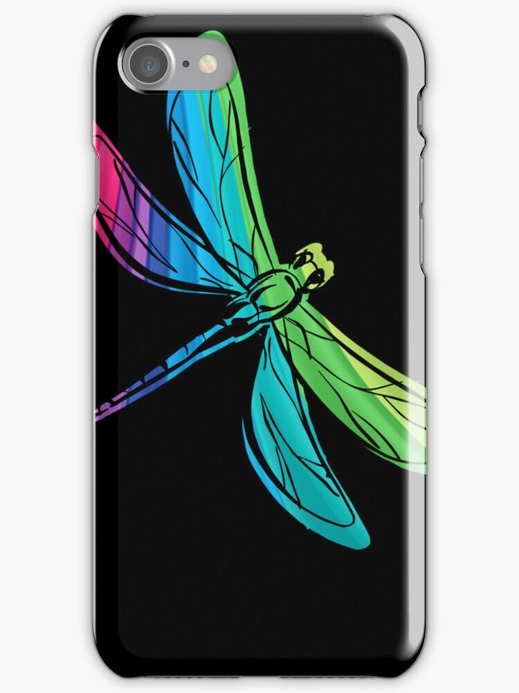 Rainbow Dragonfly on Black by pjwuebker