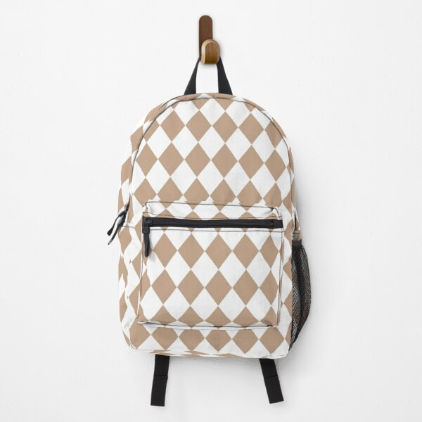 Natural Burlap Modern Diamond Pattern Backpack
