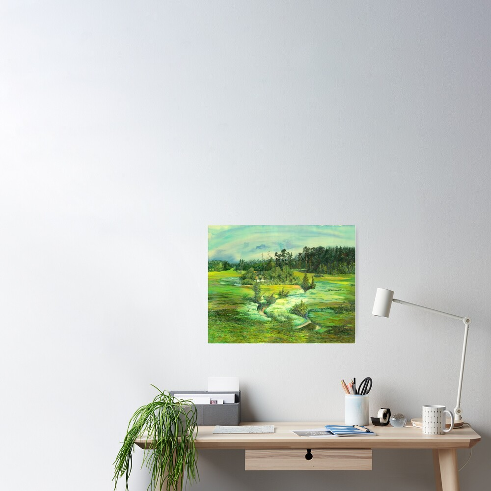 green valley Watercolor  Poster