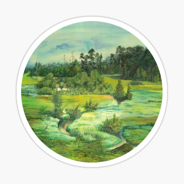 green valley Watercolor  Sticker