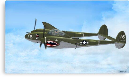 Top Hatted Skull P-38 Lightning by Walter Colvin