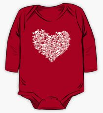 Red And White Emo Skull Heart One Piece - Long Sleeve