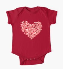 Red And White Emo Skull Heart Kids Clothes