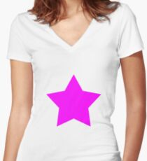 Pink Emo Star Women's Fitted V-Neck T-Shirt
