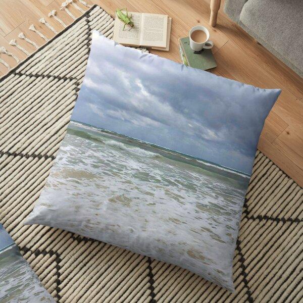 Moody Blue Beach Ocean Gray Floor Pillow
