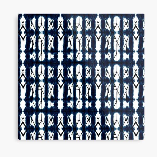 Diamond Shibori Indigo Pattern Metal Print