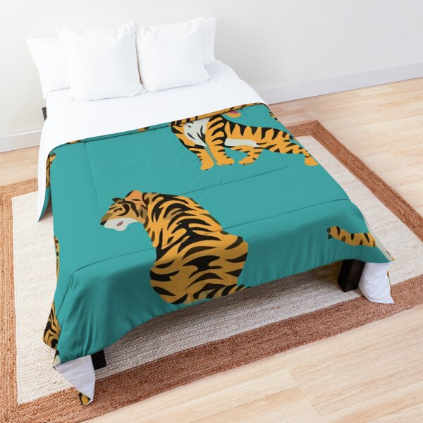 Seamless pattern with cute tigers Comforter