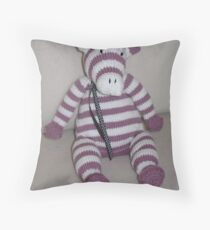 Pink Zebra Foal Throw Pillow
