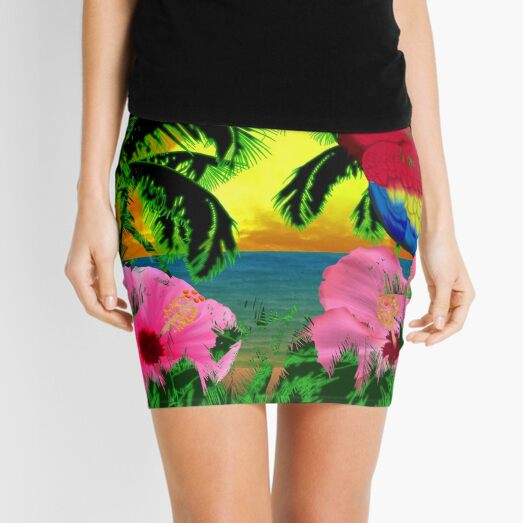 Palm Trees And Island Sunsets Mini Skirt