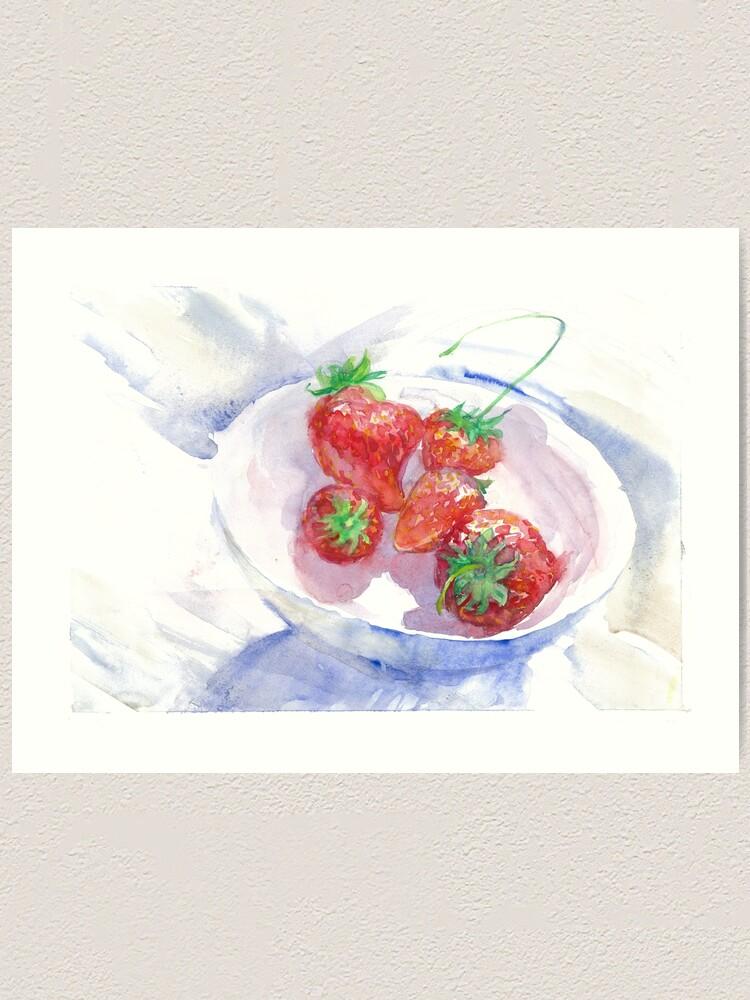 Strawberry Kitchen Decor Wall Art Fruit Photo Of Modern Minimal Strawberries Print Minimalist By Galleryartfield Redbubble