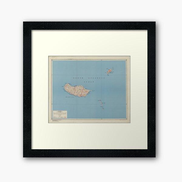 Vintage Madeira Island Map (1943) Framed Art Print