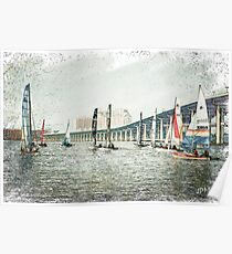 Sailboats Sketch Photo Poster