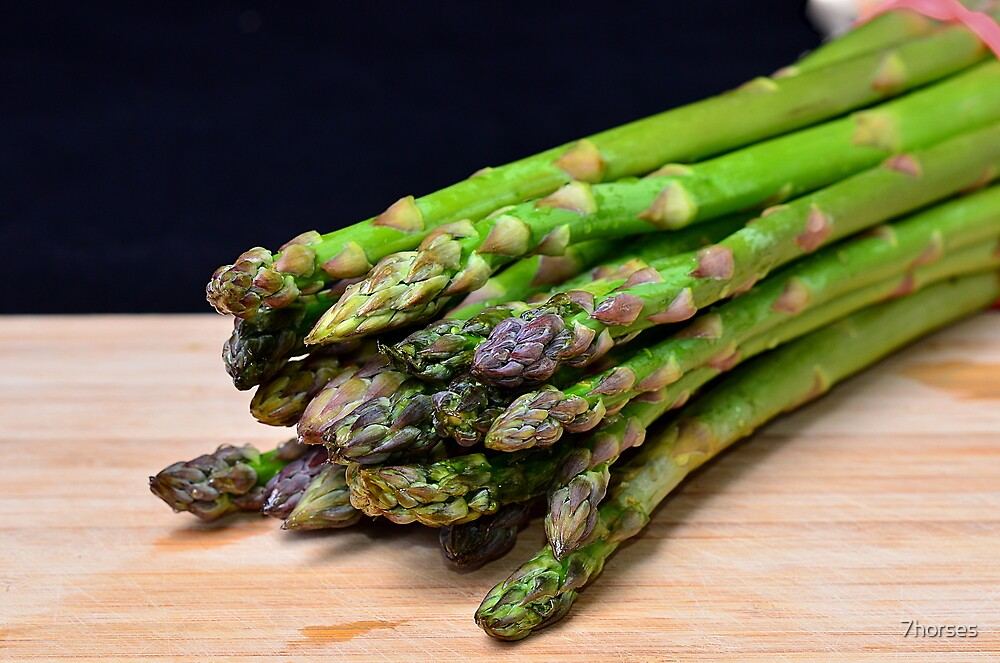 Green asparagus on wood  by 7horses