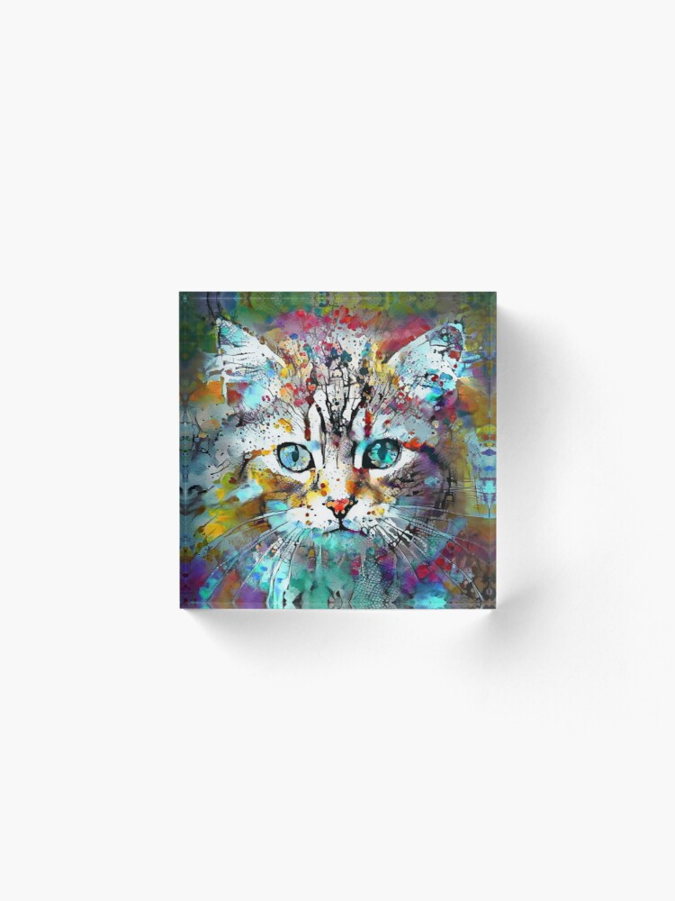 Alternate view of Abstractions of abstract abstraction of cat Acrylic Block