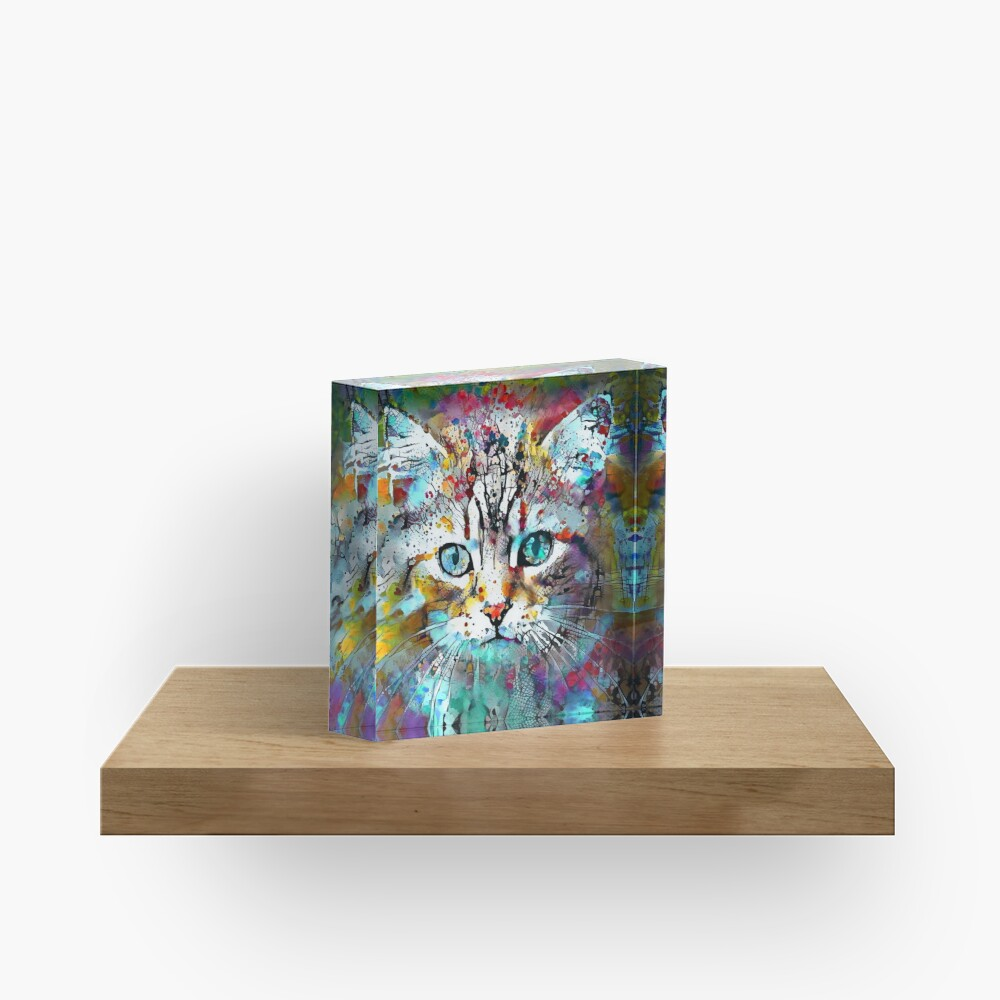 Abstractions of abstract abstraction of cat Acrylic Block