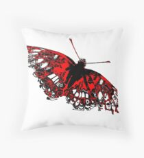 Butterfly - Black White And Red Series Throw Pillow