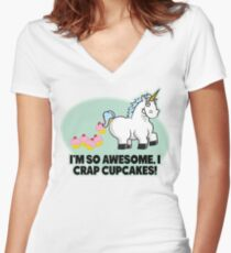 I'm So Awesome I Crap Cupcakes Women's Fitted V-Neck T-Shirt