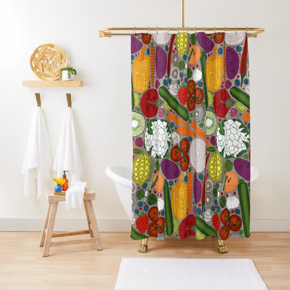 the good stuff taupe Shower Curtain