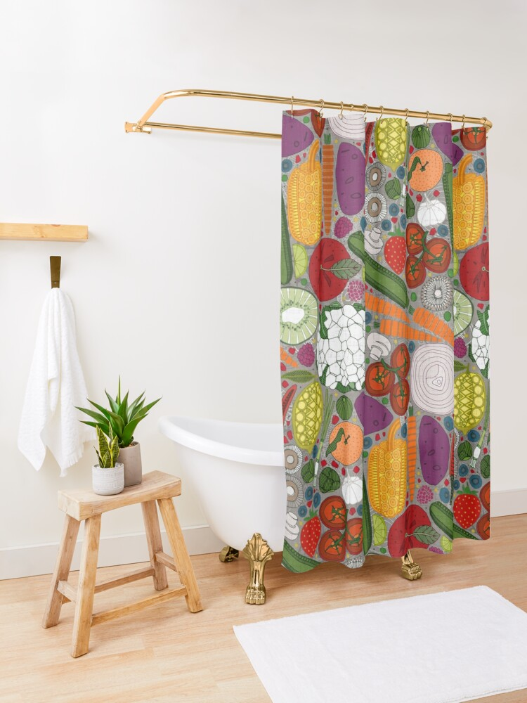 Alternate view of the good stuff taupe Shower Curtain