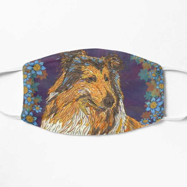 Rough Collie and Blue Flowers Mask