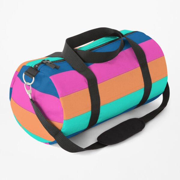 Stripes in orange,pink,blue,and turquoise Duffle Bag