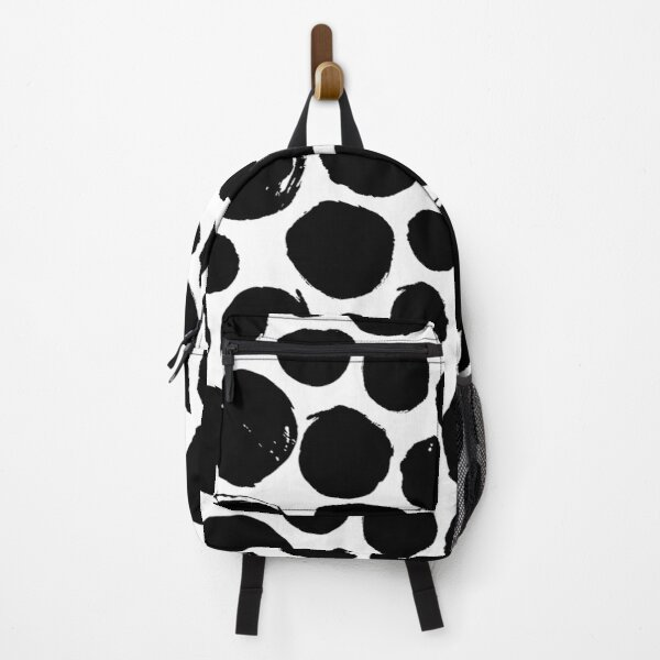 Small Black Painted Spots on White Backpack