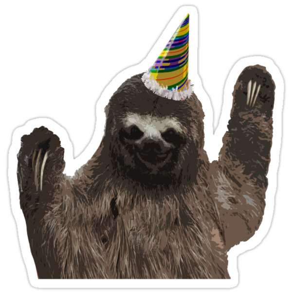 Quot Party Animal Sloth Quot Stickers By Hunnydoll Redbubble