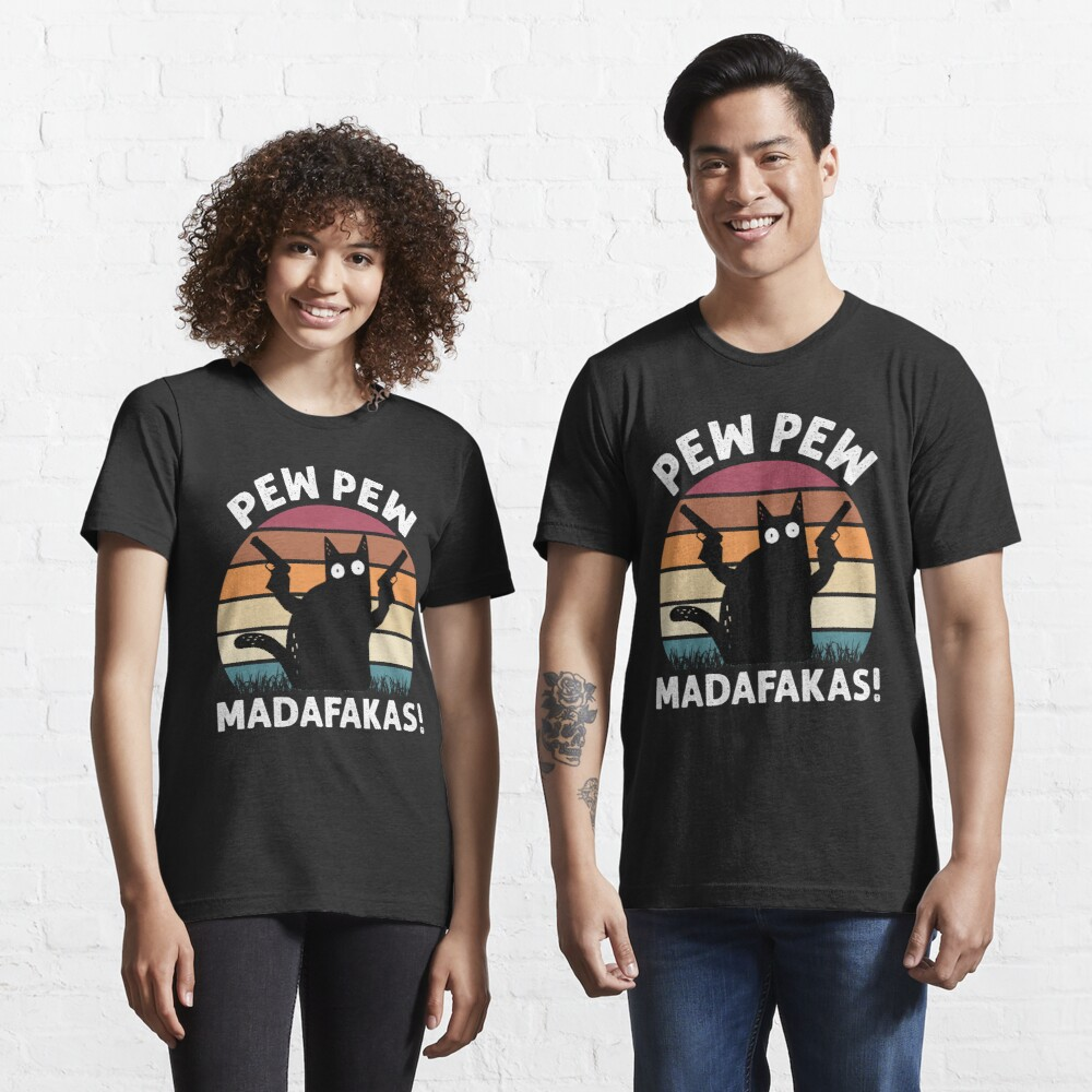Vintage Retro Black Cat Pew Pew Madafakas! funny cat pew pew madafakas Essential T-Shirt