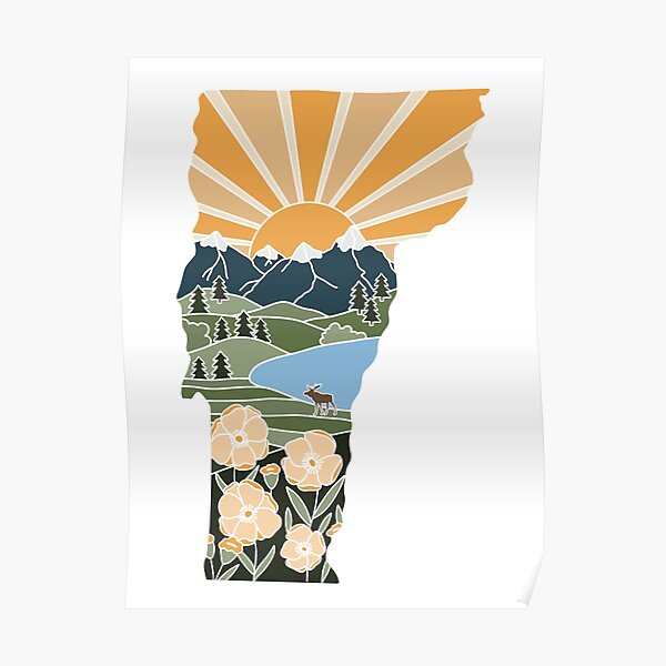 Vermont Illustrated Graphic Poster