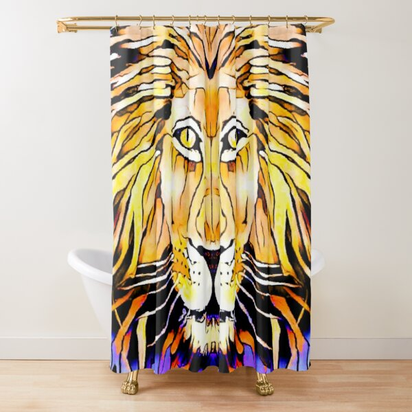 Golden Lion, King of Beasts Shower Curtain