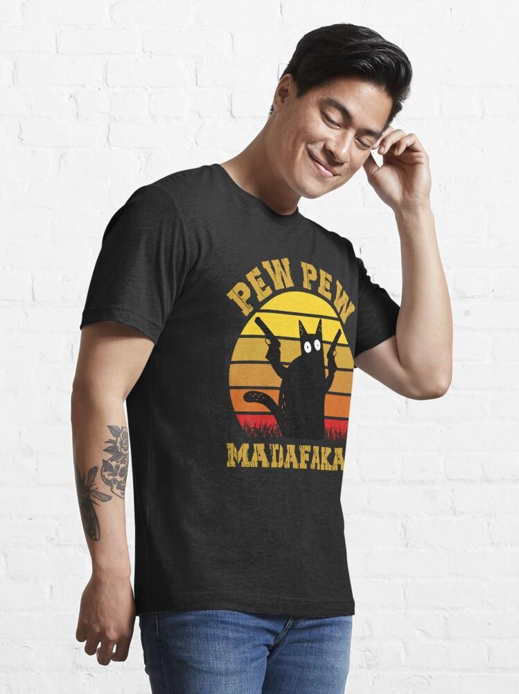 Alternate view of Vintage Retro Black Cat Pew Pew Madafakas! funny cat pew pew madafakas Essential T-Shirt