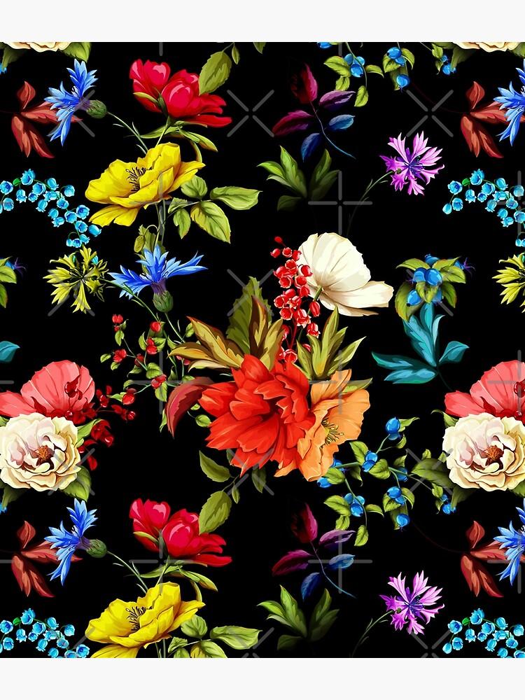 Hibiscus roses and colorful flowers floral pattern by Rakeshmurugan