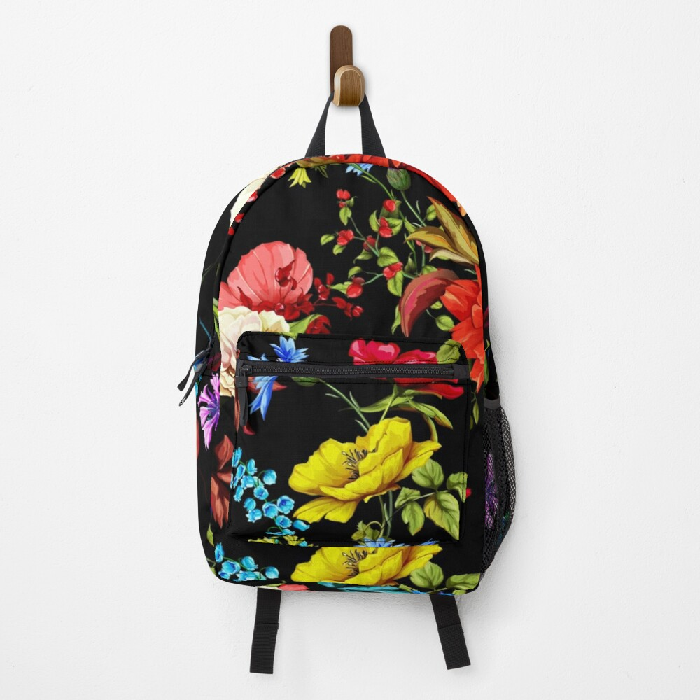 Hibiscus roses and colorful flowers floral pattern Backpack